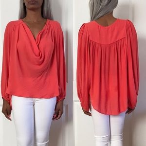Free People Cowl Neck High Low Coral Top